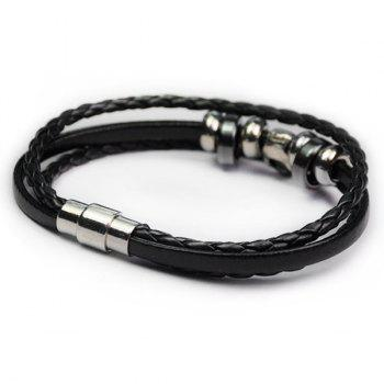 Faux Leather Braid Skull Rope Bracelet - BLACK