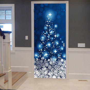Christmas Snowflakes Star Pattern Door Stickers - BLUE BLUE