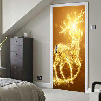 Christmas Sparkly Deer Pattern Door Stickers - GOLDEN 38.5*200CM*2PCS
