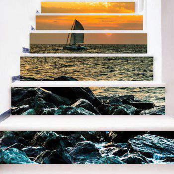 Sailboat on the Sea Pattern Decorative Stair Stickers - COLORMIX 100*18CM*6PCS