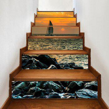 Sailboat on the Sea Pattern Decorative Stair Stickers - COLORMIX COLORMIX