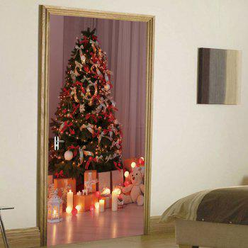 Christmas Tree Presents Pattern Door Stickers - COLORMIX 38.5*200CM*2PCS