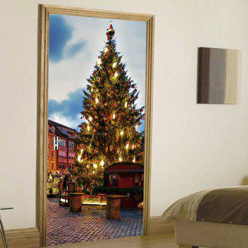 Christmas Pine Tree Pattern Door Stickers - COLORMIX COLORMIX
