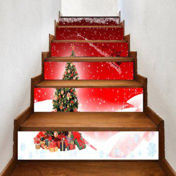 Christmas Tree and Santa Sleigh Pattern Decorative Stair Stickers - RED RED