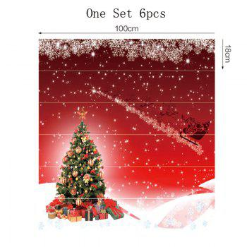 Christmas Tree and Santa Sleigh Pattern Decorative Stair Stickers - RED 100*18CM*6PCS