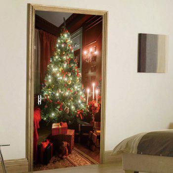 Christmas Tree Present Pattern Door Stickers - COLORMIX 38.5*200CM*2PCS
