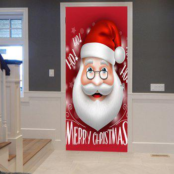 Christmas Santa Head Pattern Door Stickers - RED RED
