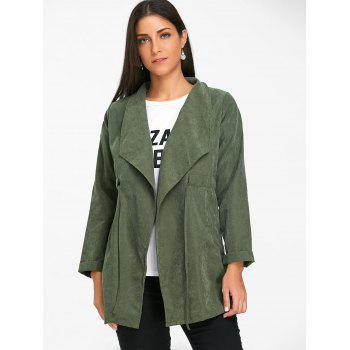 Open Front Drawstring Tunic Coat - ARMY GREEN ONE SIZE