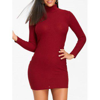 High Neck Knit Bodycon Mini Dress - WINE RED WINE RED