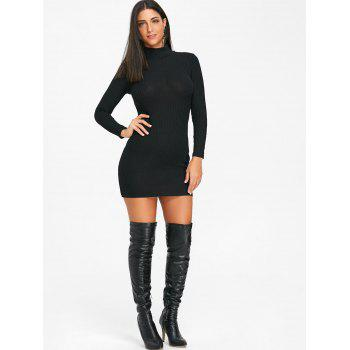 High Neck Knit Bodycon Mini Dress - BLACK BLACK