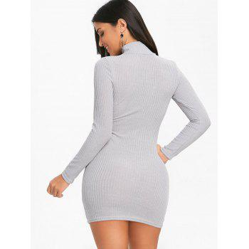 High Neck Knit Bodycon Mini Dress - GRAY GRAY