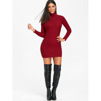High Neck Knit Bodycon Mini Dress - WINE RED S