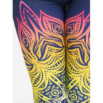 Yoga Floral Print Ombre Leggings - COLORFUL COLORFUL