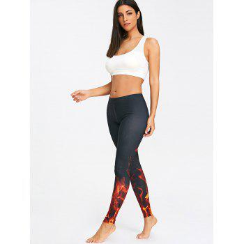 Fire 3D Print Workout Leggings - BLACK S