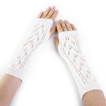 Tree Branch Pattern Hollow Out Fingerless Arm Warmers - WHITE WHITE