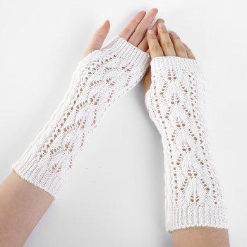 Tree Branch Pattern Hollow Out Fingerless Arm Warmers - WHITE