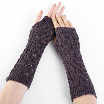 Tree Branch Pattern Hollow Out Fingerless Arm Warmers - DEEP GRAY