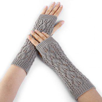 Tree Branch Pattern Hollow Out Fingerless Arm Warmers - LIGHT GRAY LIGHT GRAY