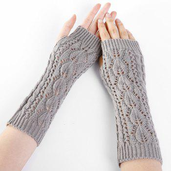 Tree Branch Pattern Hollow Out Fingerless Arm Warmers -  LIGHT GRAY
