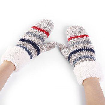 Striped Pattern Embellished Colormix Knitted Gloves - LIGHT GREY LIGHT GREY