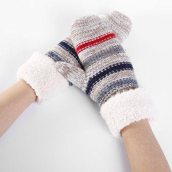 Striped Pattern Embellished Colormix Knitted Gloves -  LIGHT GREY