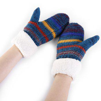 Striped Pattern Embellished Colormix Knitted Gloves - BLUE BLUE