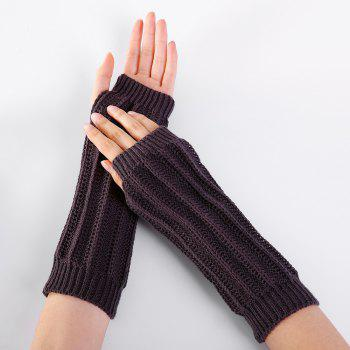 Stripe Pattern Hollow Out Decorated Crochet Knit Arm Warmers -  ESPRESSO