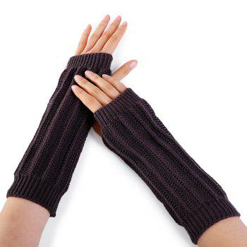Stripe Pattern Hollow Out Decorated Crochet Knit Arm Warmers - ESPRESSO ESPRESSO