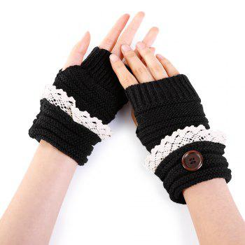 Button Decorated Lace Edge Knitted Exposed Finger Gloves - BLACK BLACK