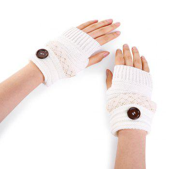 Button Decorated Lace Edge Knitted Exposed Finger Gloves - WHITE WHITE