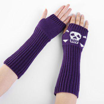 Funny Skull Pattern Crochet Knitted Fingerless Arm Warmers - PURPLE