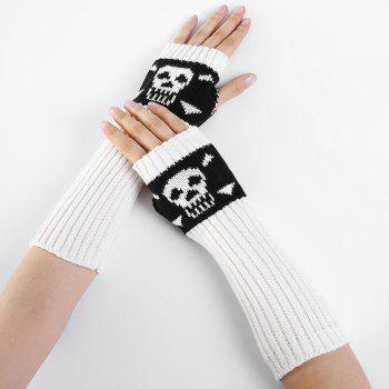 Funny Skull Pattern Crochet Knitted Fingerless Arm Warmers -  WHITE