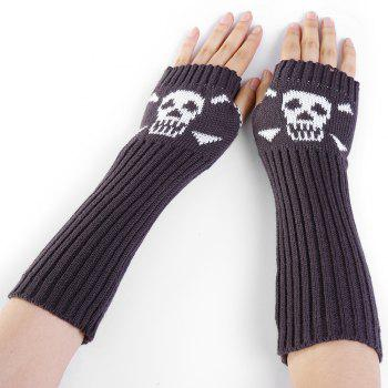 Funny Skull Pattern Crochet Knitted Fingerless Arm Warmers - DEEP GRAY DEEP GRAY