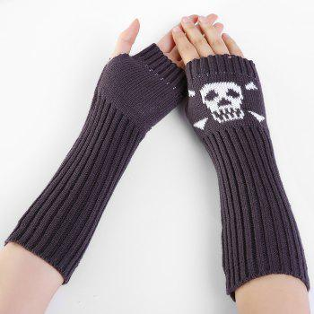 Funny Skull Pattern Crochet Knitted Fingerless Arm Warmers -  DEEP GRAY