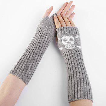 Funny Skull Pattern Crochet Knitted Fingerless Arm Warmers - LIGHT GRAY