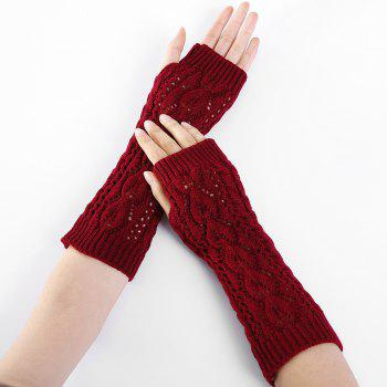 Tree Branch Pattern Hollow Out Fingerless Arm Warmers - RED