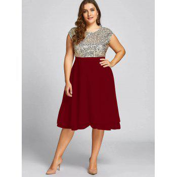 Plus Size Sequin Sparkly Cocktail Dress - WINE RED 2XL