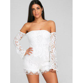 Flare Sleeve Off The Shoulder Lace Romper - WHITE L