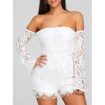 Flare Sleeve Off The Shoulder Lace Romper - WHITE WHITE