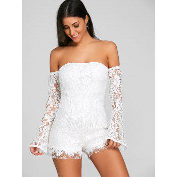 Flare Sleeve Off The Shoulder Lace Romper - WHITE S
