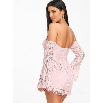 Flare Sleeve Off The Shoulder Lace Romper - PINK L