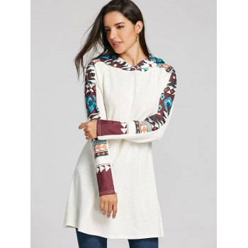 Tribal Totem Printed Panel Hooded Knit Top - WHITE M