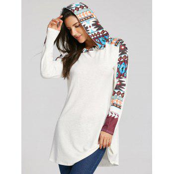 Tribal Totem Printed Panel Hooded Knit Top - WHITE L