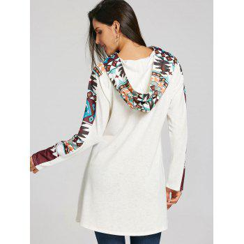 Tribal Totem Printed Panel Hooded Knit Top - WHITE 2XL