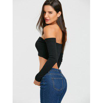 Long Sleeve V Cut Strapless Crop Top - BLACK BLACK