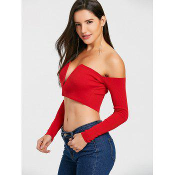 Long Sleeve V Cut Strapless Crop Top - RED RED