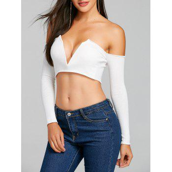 Long Sleeve V Cut Strapless Crop Top - WHITE WHITE