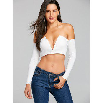 Long Sleeve V Cut Strapless Crop Top - WHITE S