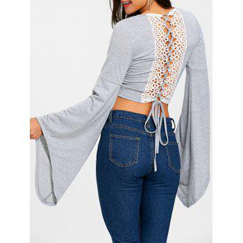 Lace Up Bell Sleeve Crop Top - GRAY GRAY