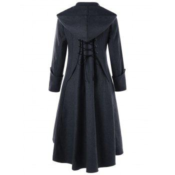 Hooded Button Cuff Lace Up Coat - DARK GREY M